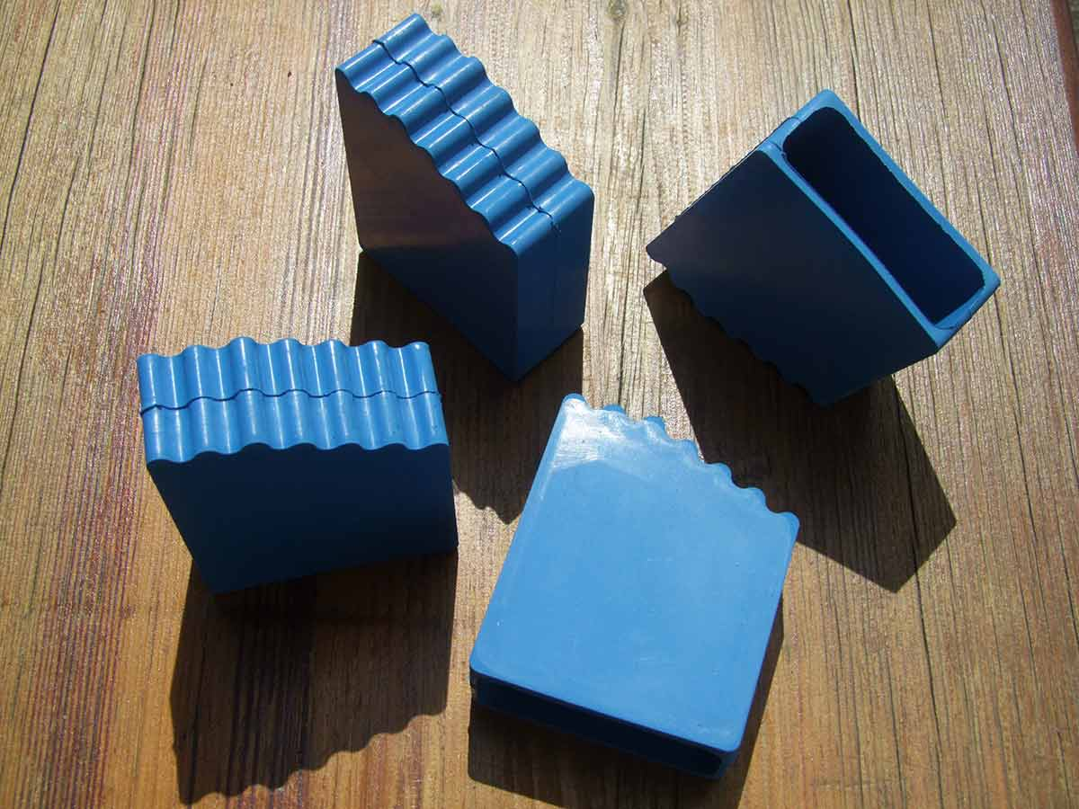 Gummifüße Leiternschuhe blau 60x22mm 4er Set